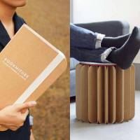 Bookniture Origami Inspired Cardboard Standing Desk and Chair
