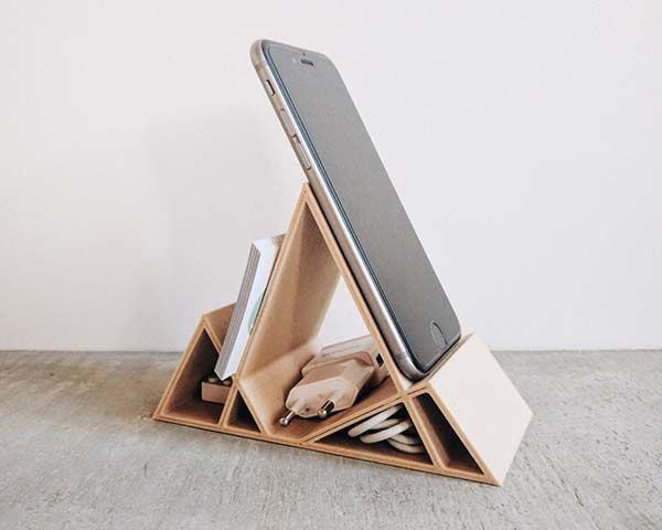 Handmade Wooden Minimal Geometric Desk Organizer  Gadgetsin