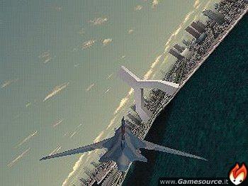 Un R-101 Delphinus, simbolo dell'avanzamento tecnologico in Ace Combat 3, sorvola un'altrettanto futuristica città.