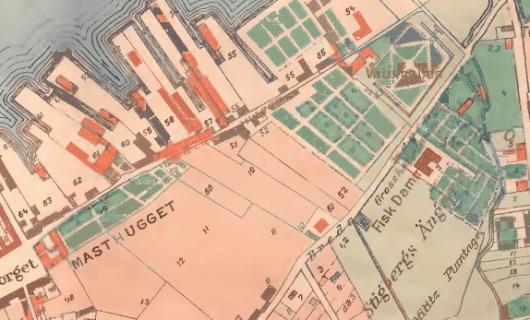 Masthamnar, Vauxhall (tidigare Amijas plantage) och Peter MIlitz plantage år 1790