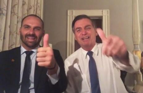 Image result for Bolsonaro e Eduardo Bolsonaro