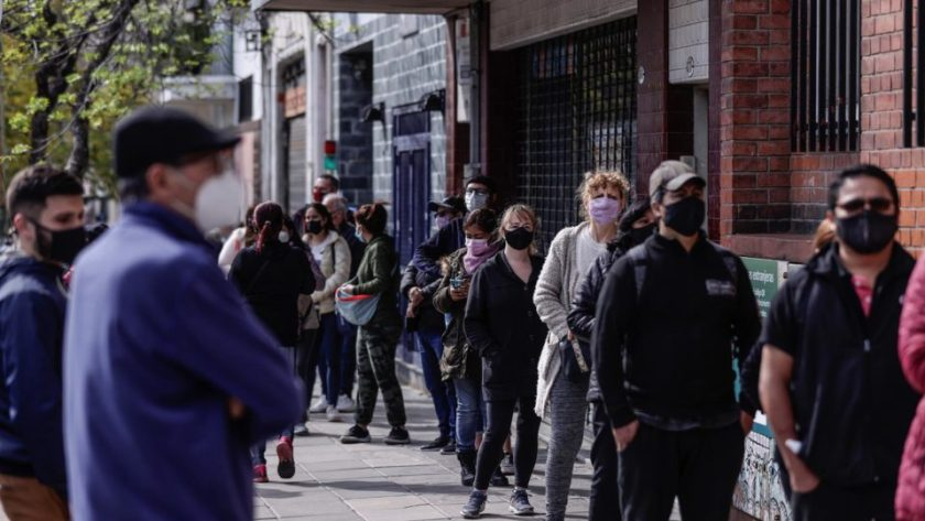 Citizens line up at polling station during primaries for legislative elections in Buenos Aires, Argentina, September 12