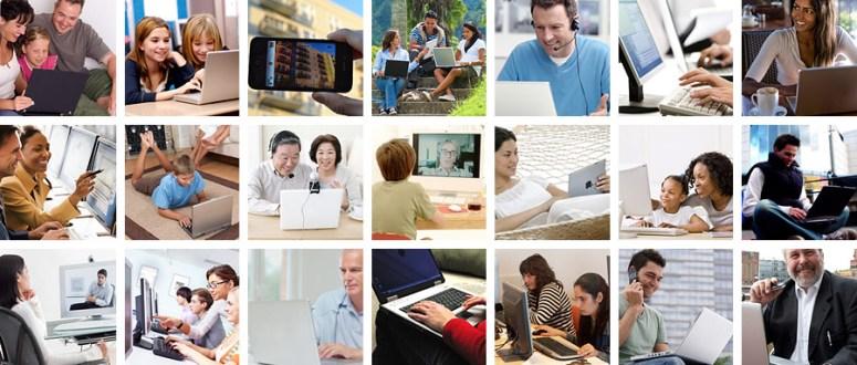 rejilla de personas que usan computadoras