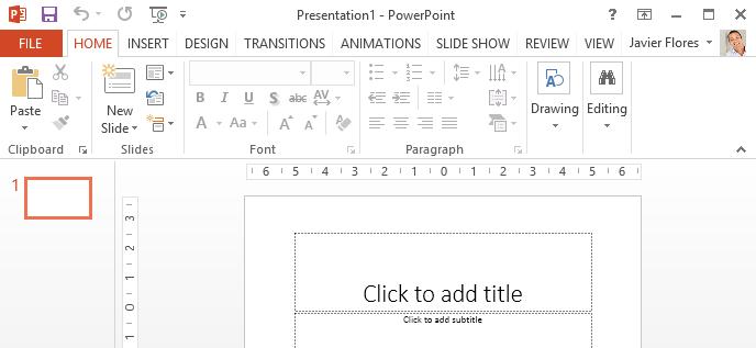 Captura de pantalla de PowerPoint 2013