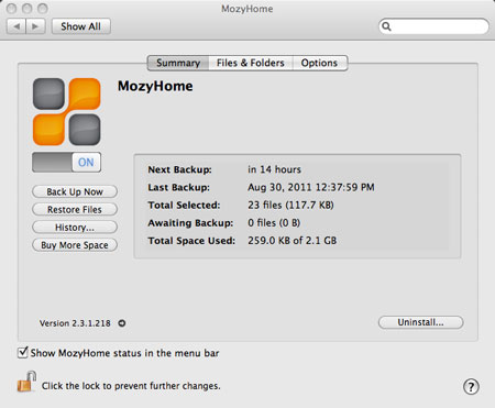 backing up files through Mozy