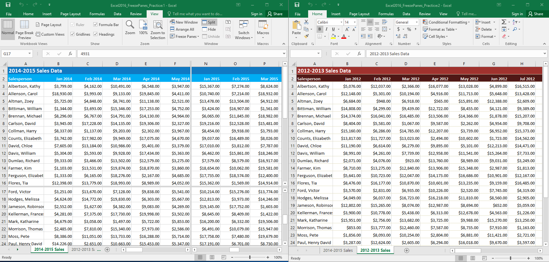 Excel 2016: Freezing Panes and View Options