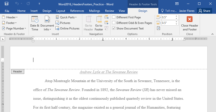 word 2016 headers and