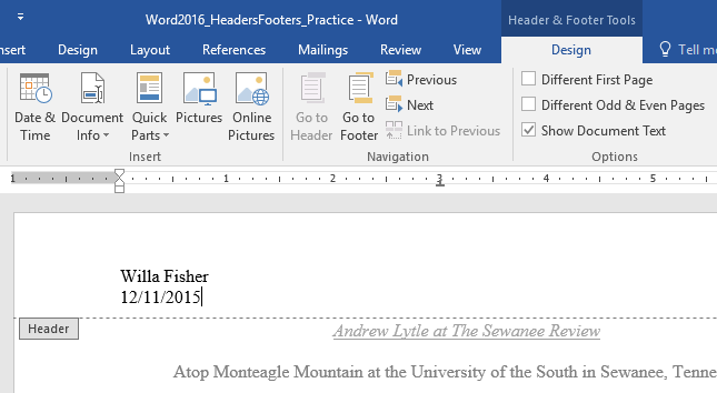 Typing text into a header