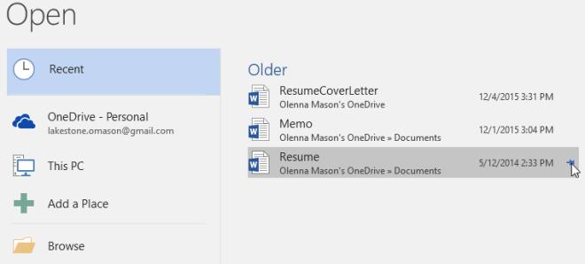 pinning a document - www.office.com/setup
