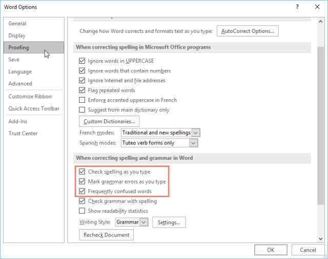 customizing spell check options