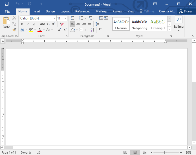 the Word 2016 interface - www.office.com/setup