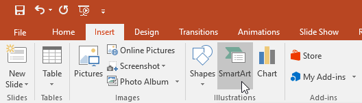 selecting the SmartArt command on the Insert tab - www.office.com/setup