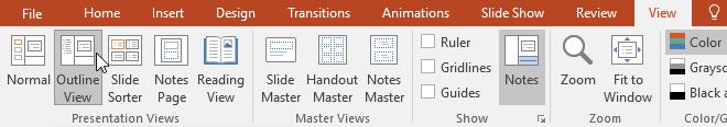 Clicking the Outline View command - www.office.com/setup