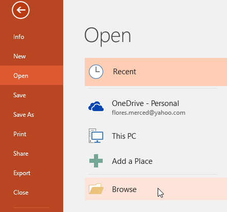 Clicking Browse - www.office.com/setup