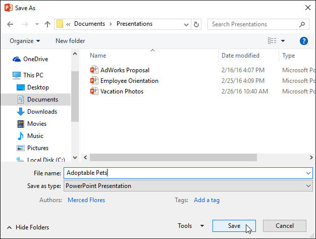 Saving a presentation - www.office.com/setup
