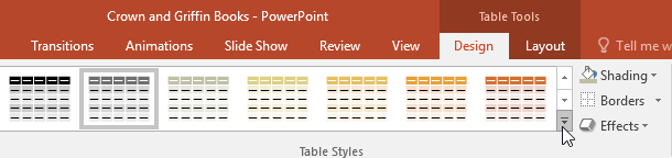 clicking the More drop-down arrow to see more Table styles - www.office.com/setup