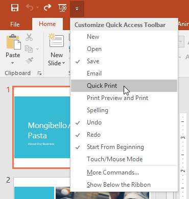 Adding a command to the Quick Access toolbar - www.office.com/setup