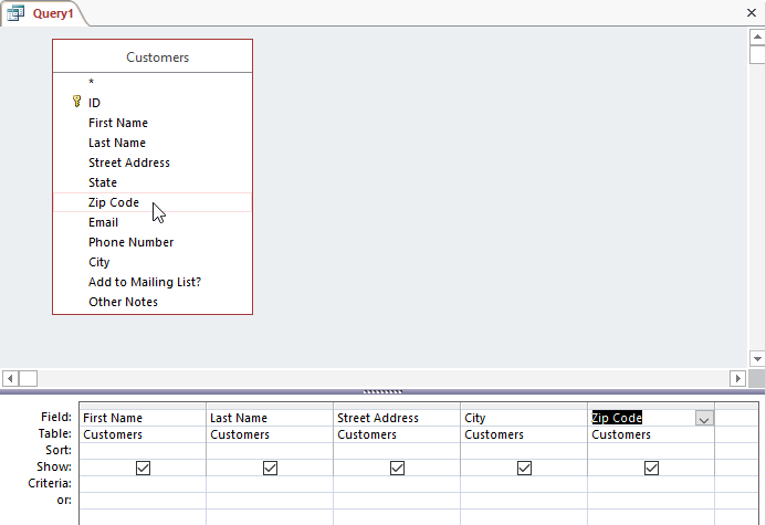 Selecting fields to add to the query