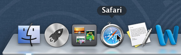 opening Safari on the dock