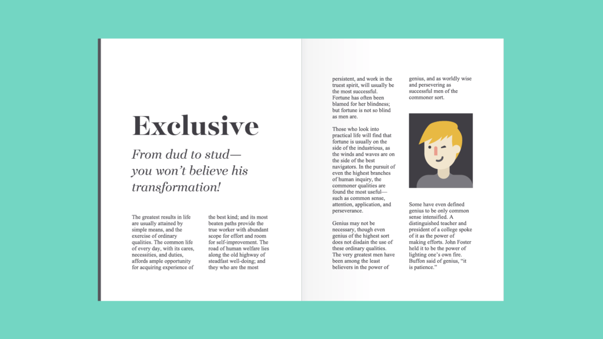 serif fonts in a magazine