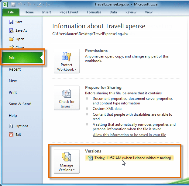 Opening an autosaved file