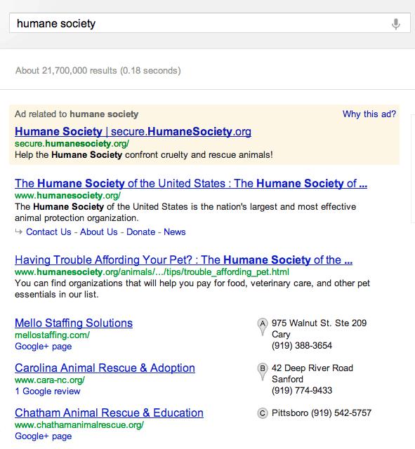 Screenshot of Google search