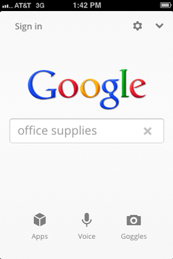 Screenshot of Google Search app