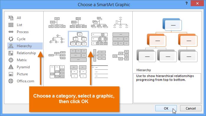 word 2013 smartart graphics
