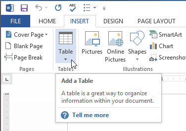 insert table in MS Word