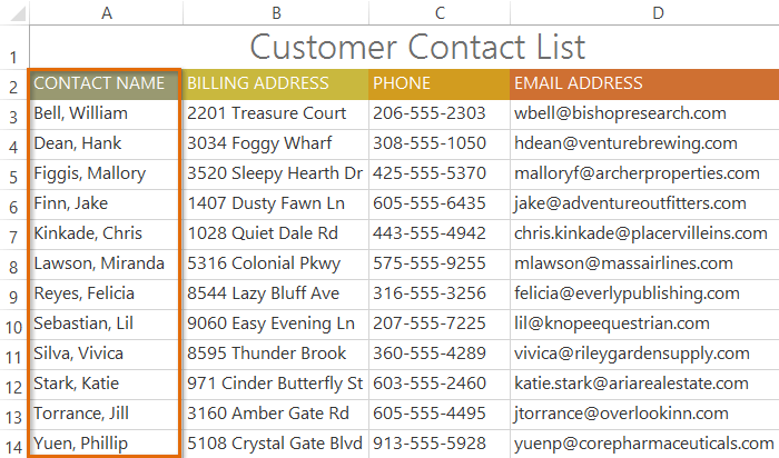 Excel 2013: Sorting Data Print Page