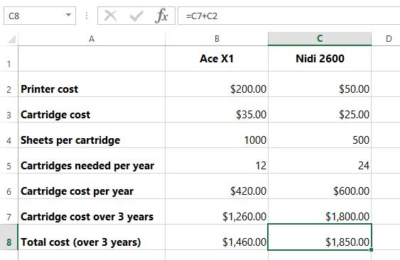 Excel Formulas: Buying a Printer: Cost Comparison