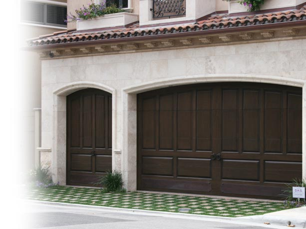 Raised panel wooden garage doors  Southern California