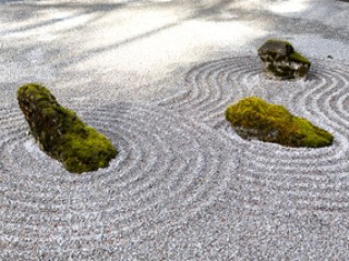 Jardin zen : pierres, mousse et gravier