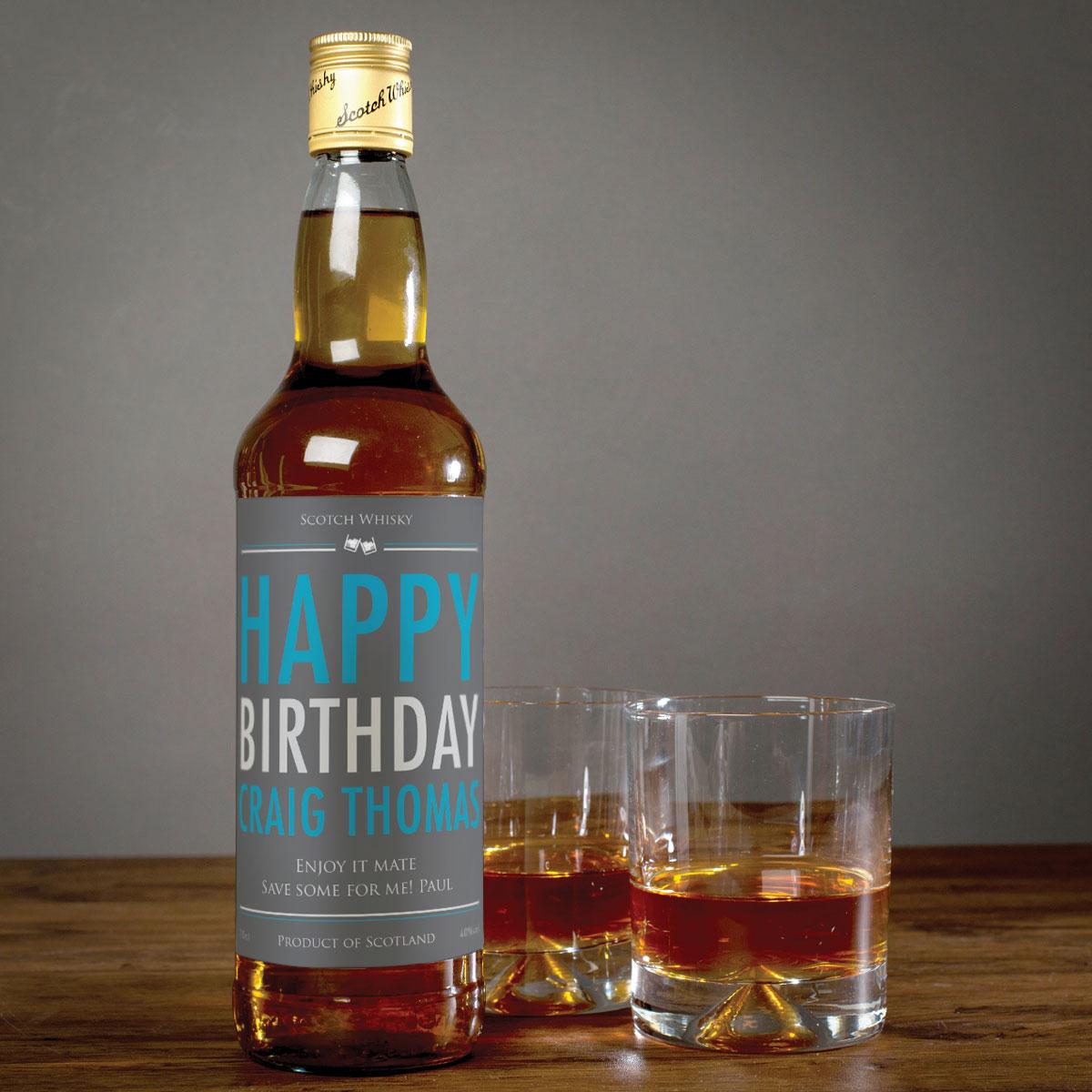 Personalised Malt Whisky Happy Birthday Personalised