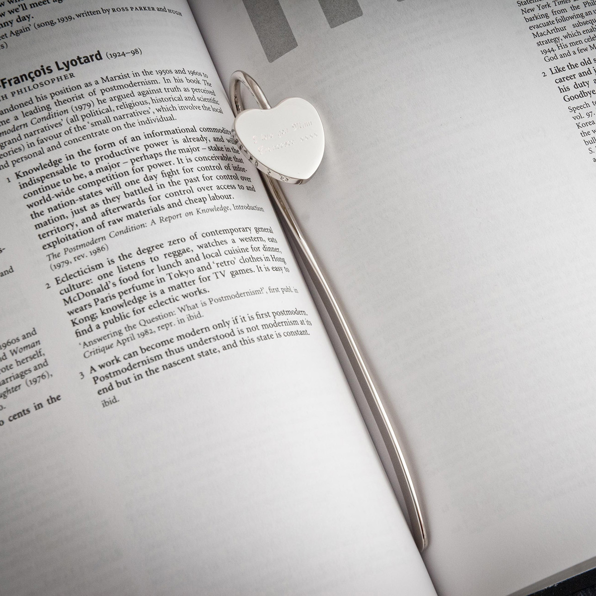 Engraved Silver Heart Shaped Bookmark