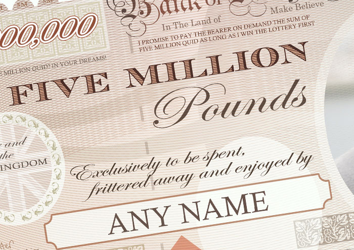 Personalised 5 Million Pound Note Print Personalised
