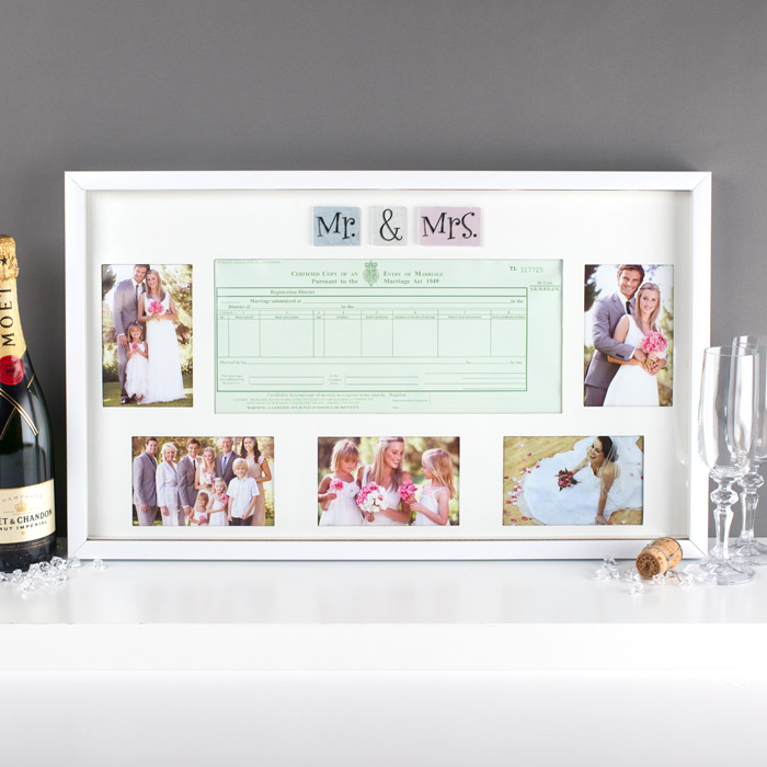 Mr  Mrs Wedding Certificate Collage Frame  Wedding Gifts By Getting Personal
