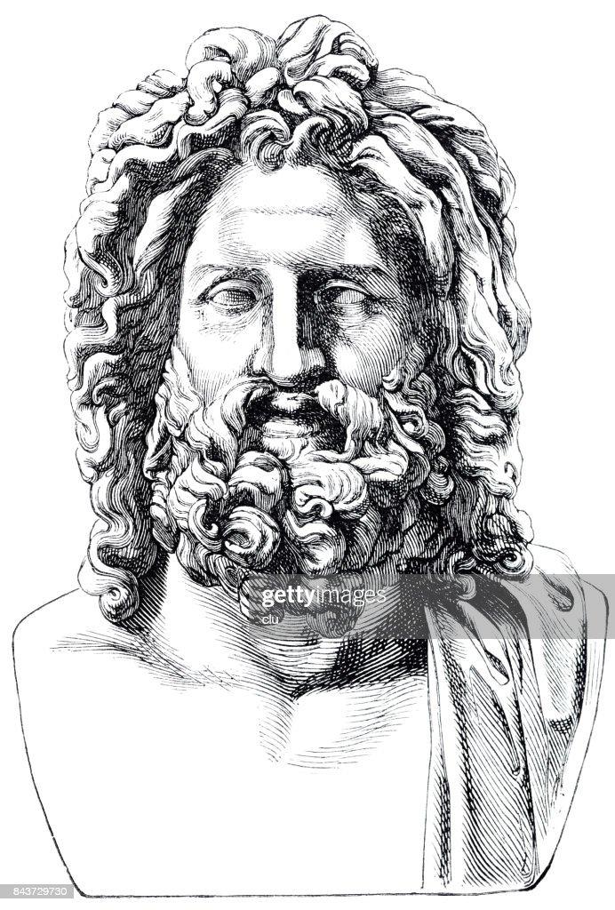 Ancient Greece Portrait Of Zeus High-Res Vector Graphic