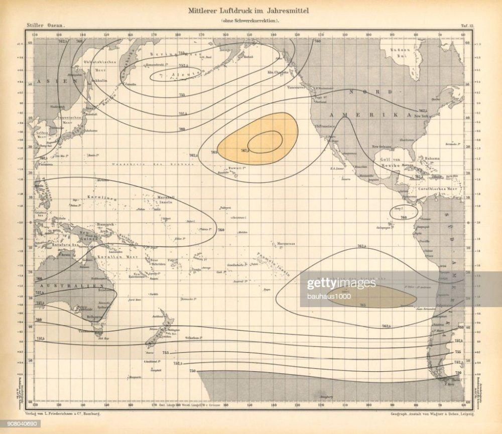 medium resolution of annual mean air pressure chart pacific ocean german antique victorian engraving 1896