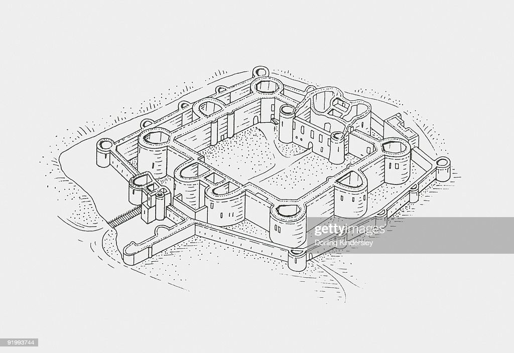 Black And White Illustration Of Beaumaris Castle High-Res