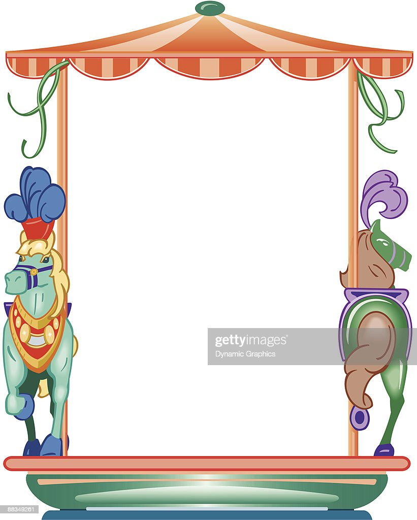 medium resolution of border carousel horses color layered also available in black and white 046 9807