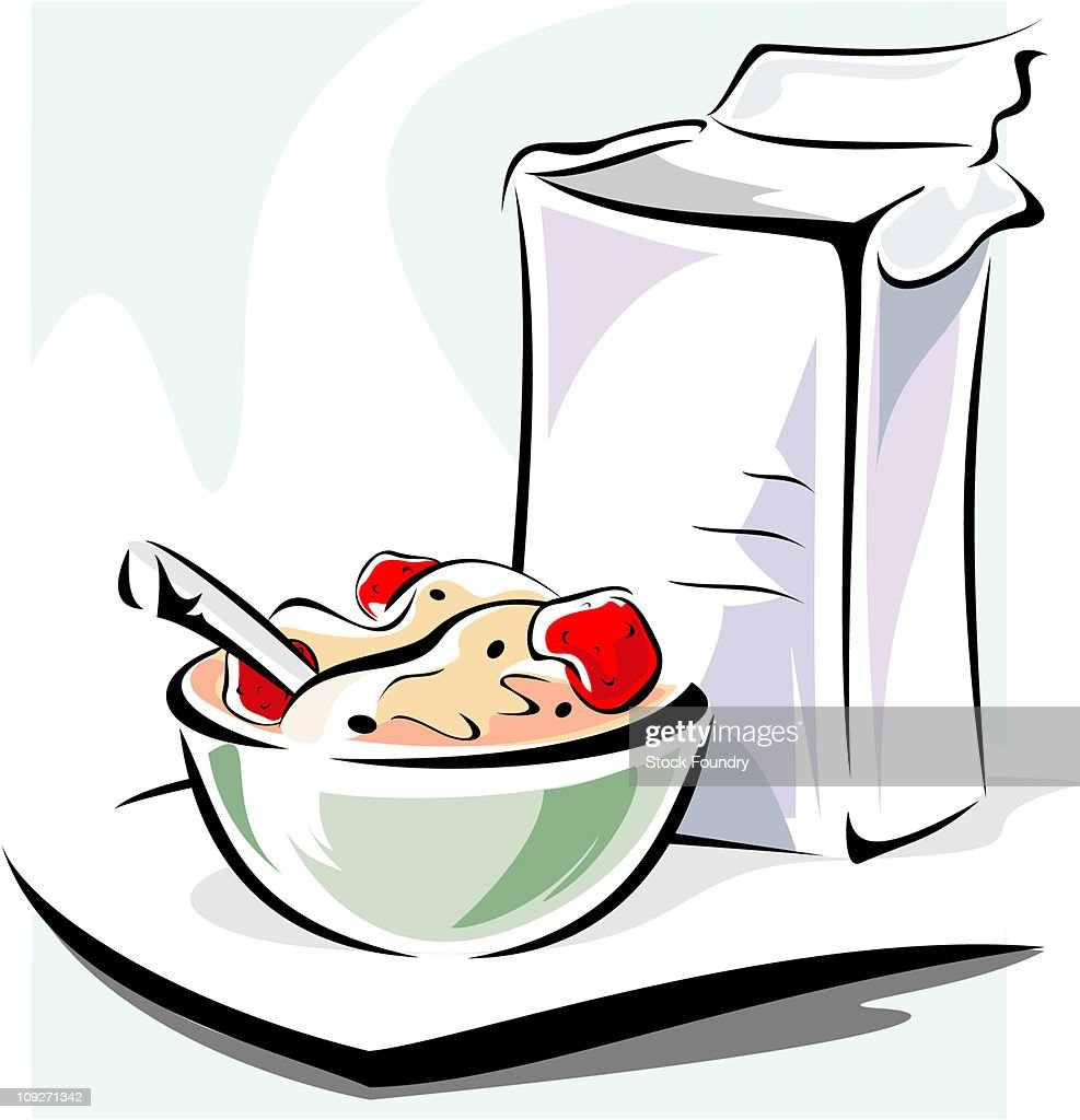 hight resolution of bowl of cereal with cereal box stock illustration