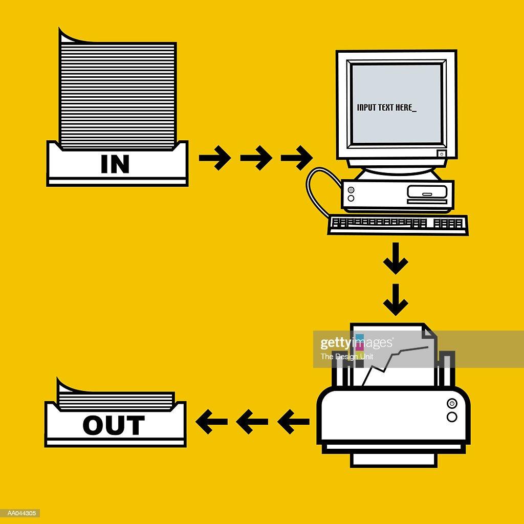 hight resolution of computer workflow diagram stock illustration