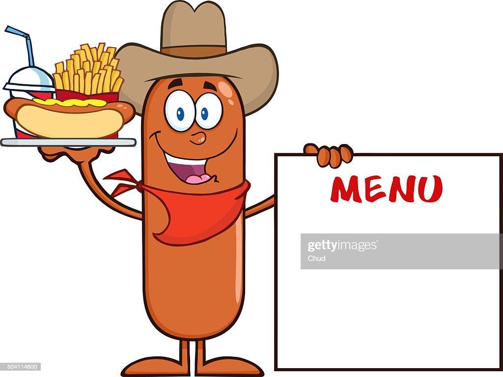 Cowboy Sausage Cartoon Character Stock Illustration