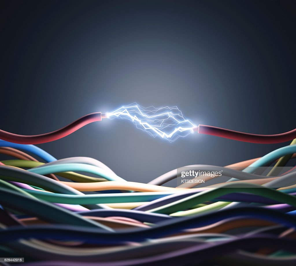 hight resolution of electricity cable with sparks artwork
