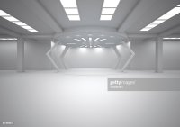 Empty Futuristic Room 3d Rendering Stock Illustration ...