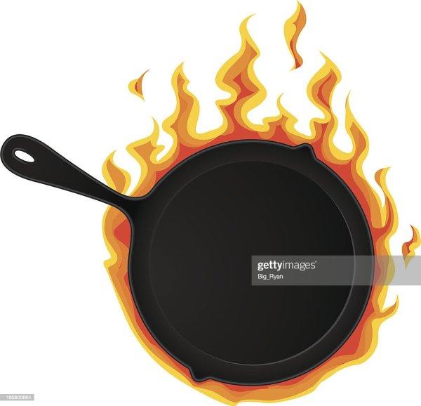 Flaming Frying Pan Vector Art Getty