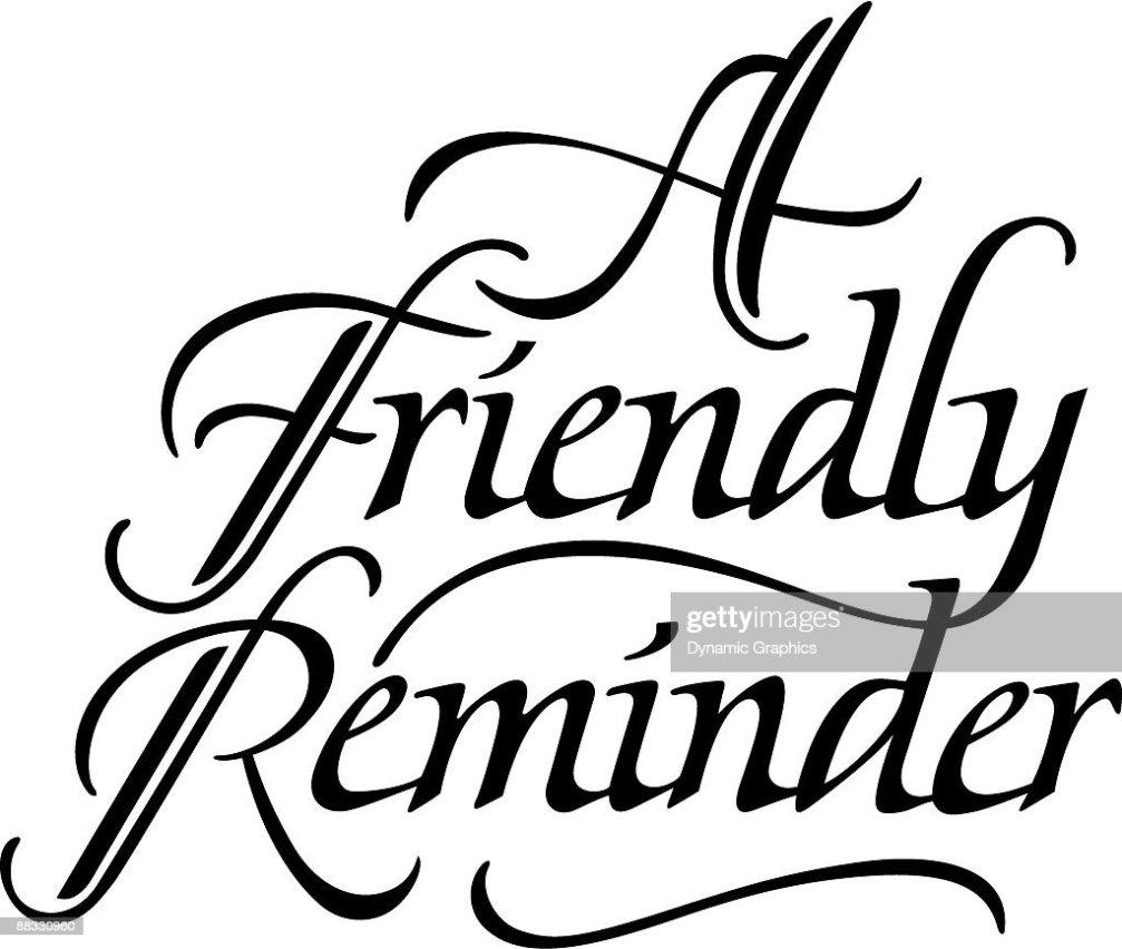 heading friendly reminder stock