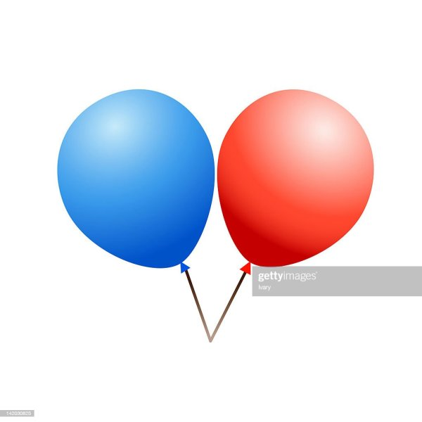 illustration of red and blue balloons