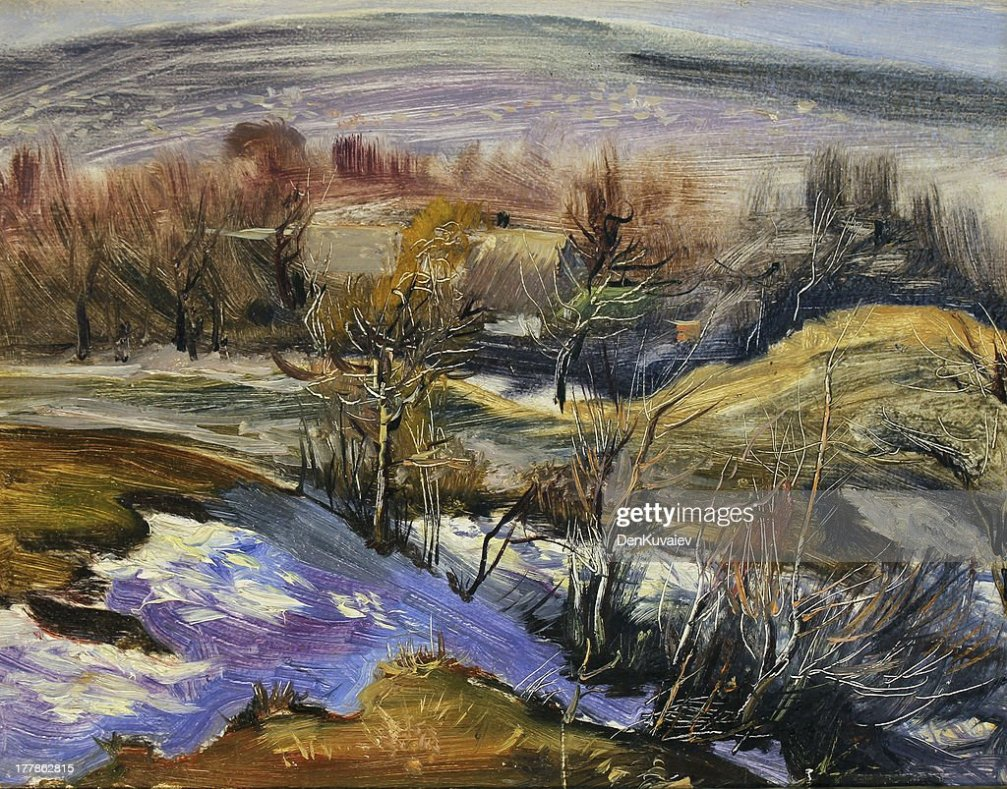 Pittura Ad Olio Paesaggio Illustrazione stock  Thinkstock